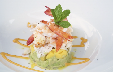 Prawn and Sand Crab Stack With Mango And Avocado